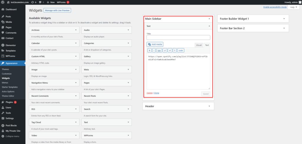embed spotify playlist wordpress widgets BoomDevs