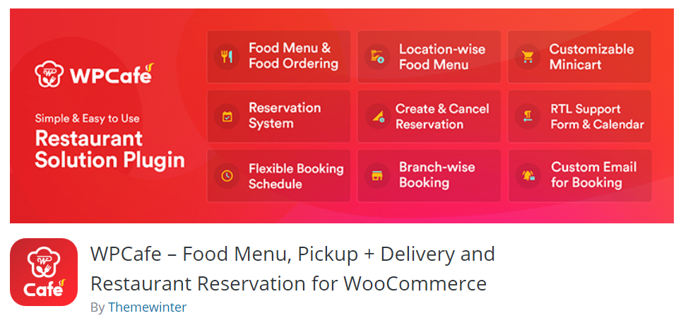 WPCafe – Food Menu, Pickup + Delivery and Restaurant Reservation for WooCommerce